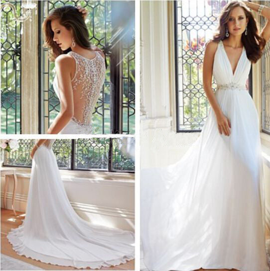 Chiffon V-Neck New Arrival Sexy A-Line White Custom Wedding Dresses PM58