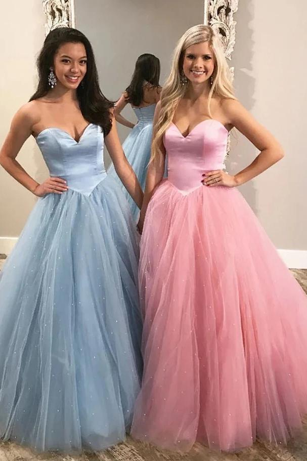 Unique Ball Gown Sweetheart Strapless Tulle Prom Dresses, Cheap Formal Dresses P1518