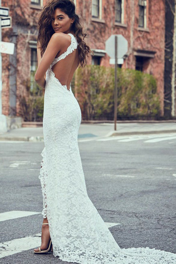 Sheath White Mermaid Round Neck Sweep Train Open Back Lace Wedding Dress with Split PM26