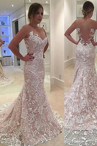 Elegant Mermaid Sleeveless Lace Sweetheart Strapless Appliques Wedding Dress With Court Train PM380