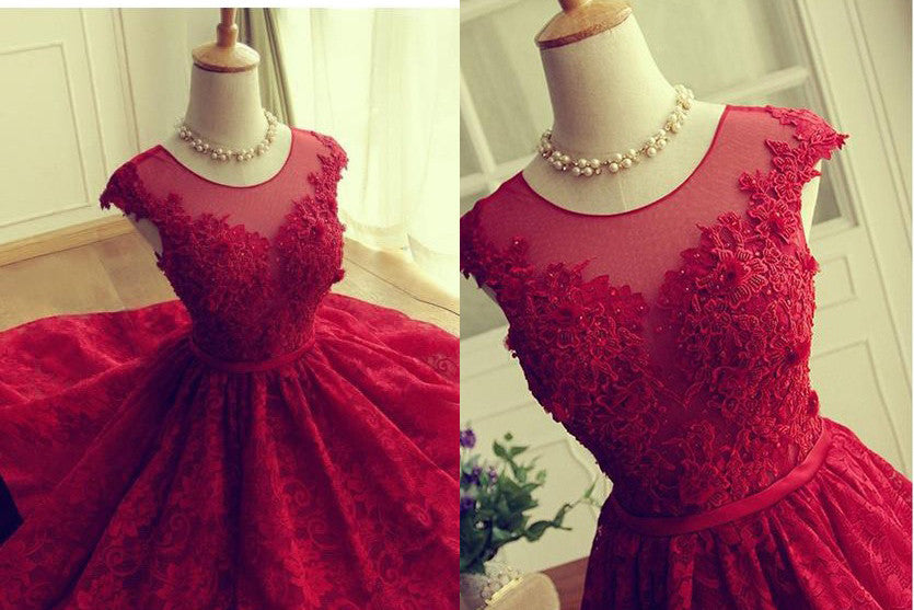 Scoop A-line Short Red Lace Homecoming Dress,Sweet 16 Prom Dress