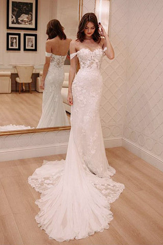 Sheath Off-the-Shoulder White Mermaid Chiffon Lace Appliques Beach Wedding Dresses UK PH328