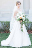 A-Line Sweetheart Court Train Sleeveless White Wedding Dress with Lace Beading PM94