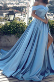 Blue Off-the-shoulder Ball Gown Split Princess Beach Prom Dresses Quinceanera Dresses PM120