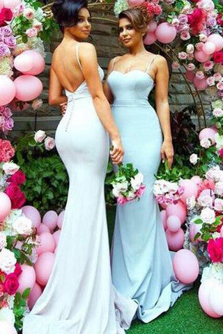 Sweetheart Sweep Train Open Back Mermaid Spaghetti Straps Bridesmaid Dresses PW212