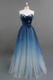Beautiful Ombre A line Tulle Sweetheart Strapless Blue Prom Dresses, Evening Dresses P1561