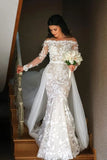 Mermaid Long Sleeve Lace Appliques Off the Shoulder Detachable Train Wedding Dresses W1110
