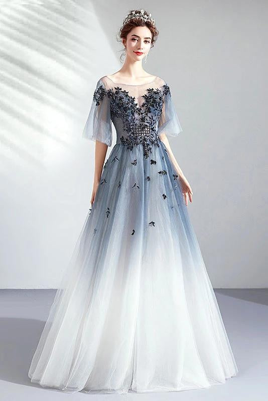 A Line Half Sleeves Tulle Long Ombre Prom Dress with Appliques Blue Evening Dresses P1246