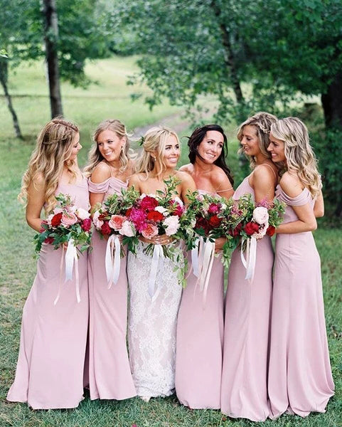 Dusty Pink Chiffon Sheath Off Shoulder Long Bridesmaid Dresses, Wedding Party Dresses BD1025
