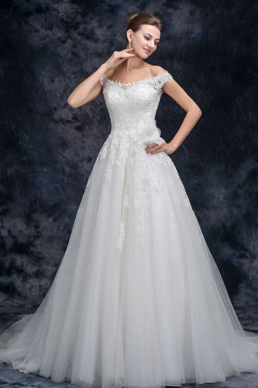 Off the Shoulder Tulle Wedding Dress with Lace Applique, A Line Long Bridal Dresses W1138