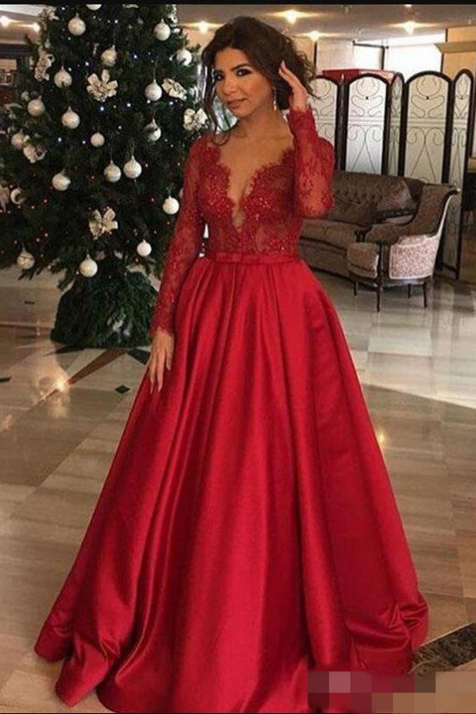 Elegant Long Sleeve Red Lace Beads Long Prom Dresses, A Line Satin Evening Dresses P1287