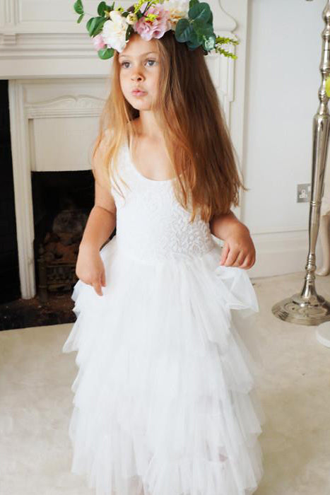 A Line Round Neck Tulle White Straps Flower Girl Dresses with Lace, Baby Dresses FG1011