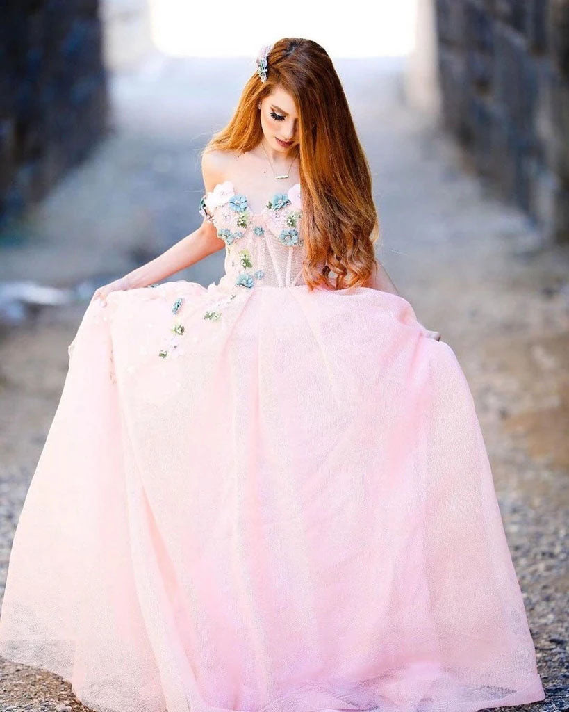 Princess Ball Gown Sweetheart Pink One Shoulder Prom Dresses, Quinceanera Dresses P1334