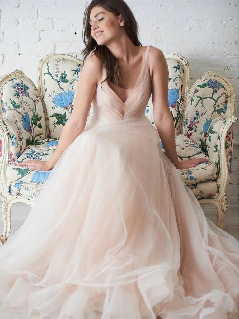 Simple Tulle Ball Gown V Neck Wedding Dresses Plus Size Bridal Dresses W1264
