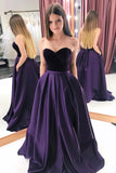 A Line Purple Satin Sweetheart Long Prom Dresses With Pockets, Strapless Evening Dresses P1298