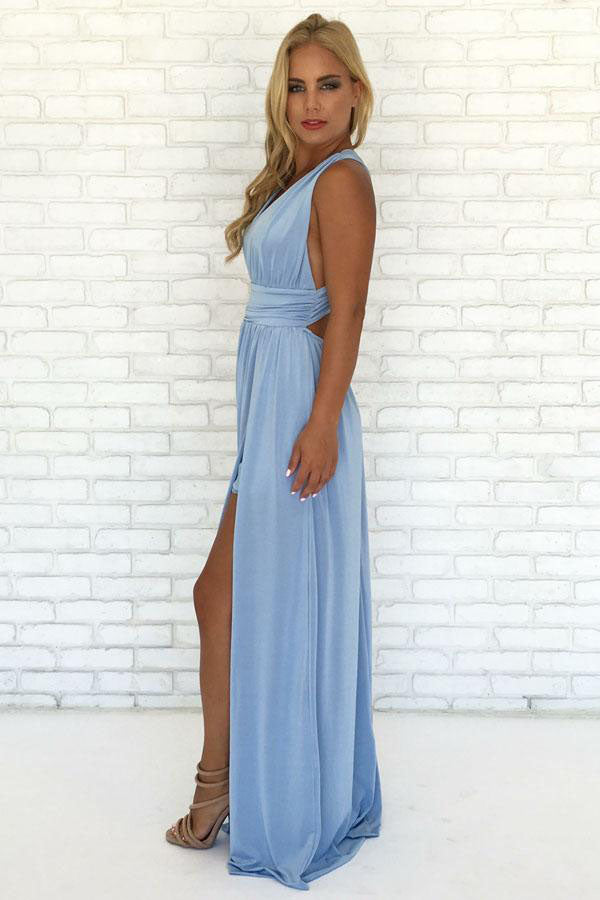 A-Line V Neck Criss Cross Light Blue Chiffon Long Prom Dresses with Split, Formal Dresses P1338