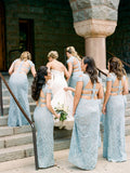 Mermaid Lace Baby Blue V Neck Bridesmaid Dresses for Wedding Party BD1049