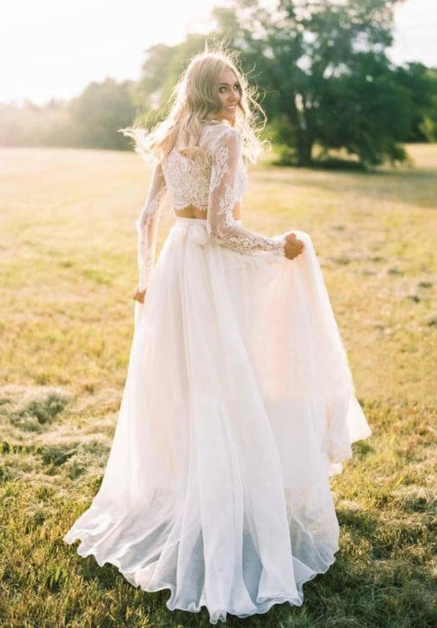 Elegant A Line Long Sleeves Lace Appliques Chiffon Two Pieces Wedding Dresses W1267