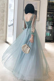 Elegant Long Sleeves Appliqued Tulle Prom Dresses, Floor Length Appliques Evening Dresses P1249