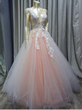 Charming Ball Gown V Neck Tulle Lace Appliques Prom Dresses, Evening Dresses P1508