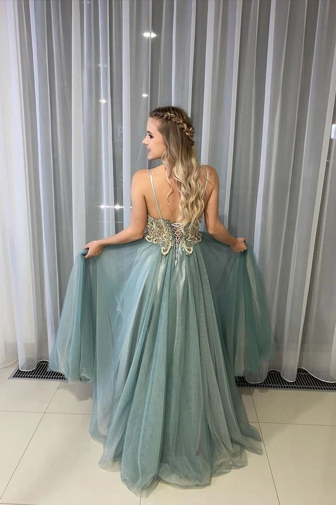 A-Line Spagahetti Straps Sweetheart Beades Long Prom Dresses, Evening Dresses P1463