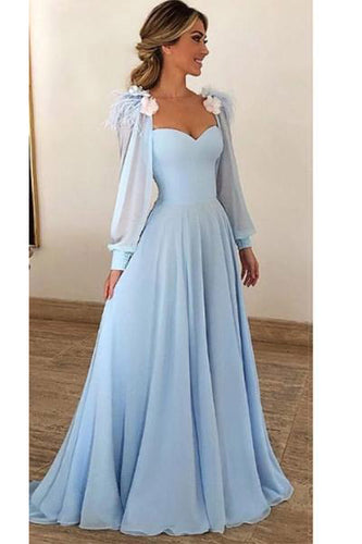 Blue Long Sleeves Sweetheart Prom Dresses, A Line Long Evening Dresses uk PW307
