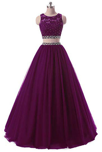A Line Two Pieces Lace Sequins Beads Open Back Appliques Sleeveless Prom Dresses uk PW334