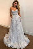 A Line Sweetheart Strapless Sweep Train Lace Pockets Wedding Dress with Sequins W1121