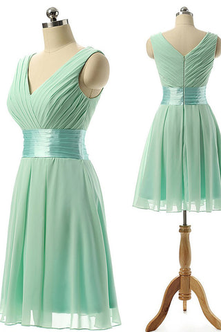 Cute A Line V Neck Ruffles Chiffon Knee Length Short Prom Dress,Homecoming Dresses UK PH641