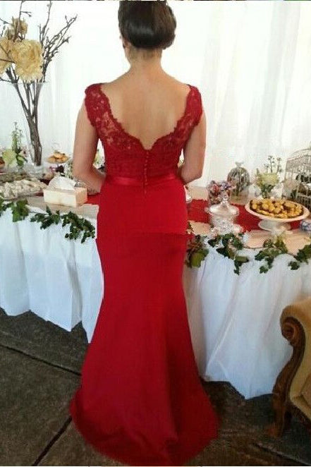 Red Button Backless Plus Size Mermaid Cap Sleeves V-neck Long Lace Bridesmaid Dresses PM802