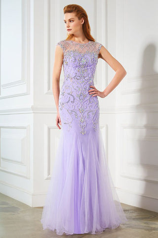 Elegant Mermaid Lavender Scoop Cap Sleeve Beads Tulle Yarn Floor-Length Prom Dresses uk PH220