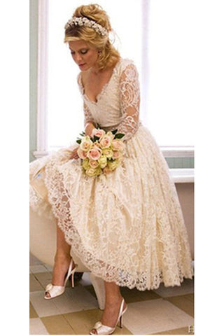 Vantage A Line V-Neck Long Sleeve Tea Length White Lace Princess Wedding Dresses PH668
