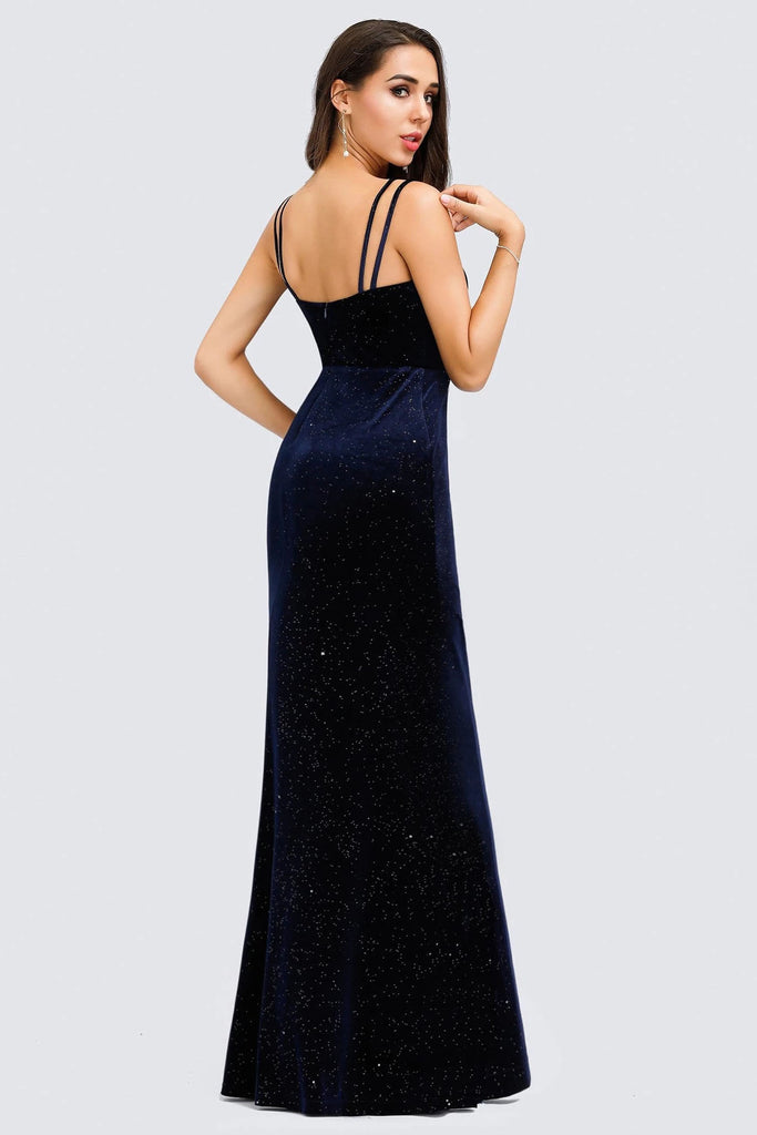 V-Neck Spaghetti Straps Velvet Dark Navy Blue Mermaid Evening Dress, Prom Dresses P1183