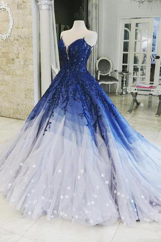 Ombre Ball Gown Royal Blue Prom Dresses With Appliques, Long V Neck Quinceanera Dresses P1138