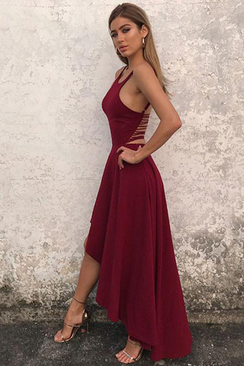 Unique A Line Burgundy High Low Sleeveless Backless Prom Dresses, Cheap Evening Dresses P1341