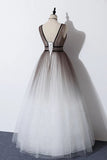 Elegant A Line Long Tulle V Neck Straps Prom Dresses, Lace up Party Dresses P1351