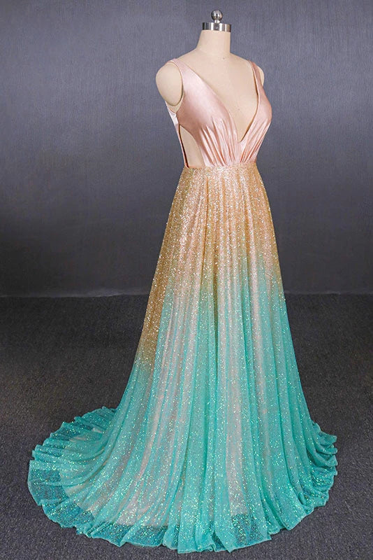 Black V Neck One Shoulder Ombre Long Evening Dresses, Unique Cheap Prom Dresses P1250