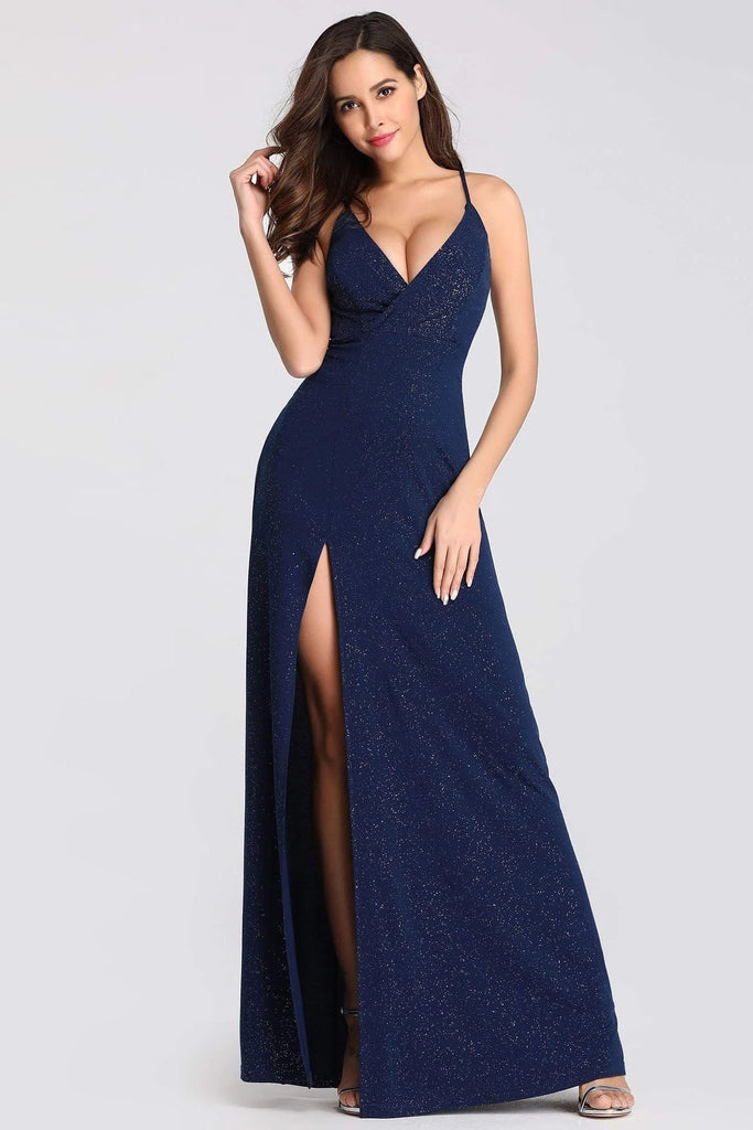 Sexy V Neck Long Spaghetti Straps Mermaid Navy Blue Prom Dresses with High Split P1174
