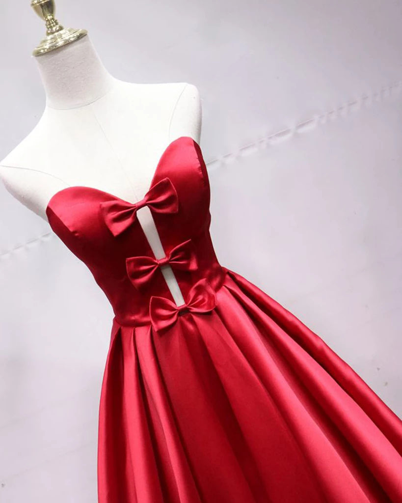 A Line Sweetheart Red Satin Lace Up Long Prom Dresses with Bowknot, Cheap Formal Dresses P1243