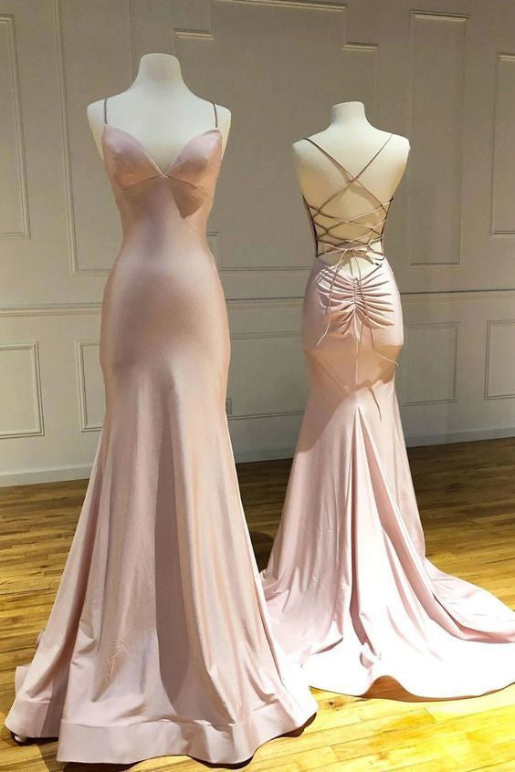 Mermaid Pink Spaghetti Straps Criss Cross Prom Dresses, Long Evening Dresses P1546