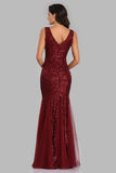 Sexy Burgundy Tulle V Neck Mermaid Sequin Prom Dresses, Evening Party Dresses XU90813