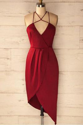 A Line Spaghetti Straps V Neck Simple Cheap Red Short Homecoming Dresses uk PW18
