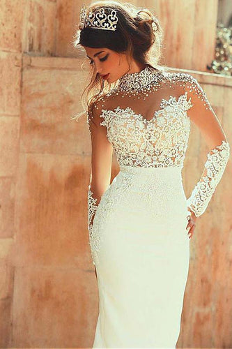 Long Sleeve Mermaid High Neck Lace Appliques Open Back Ivory Long Wedding Dresses uk PW145