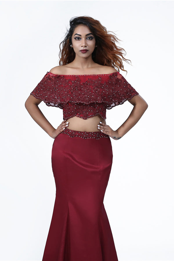 Elegant Mermaid Off the Shoulder Two Pieces Beades Burgundy Prom Dresses P1465