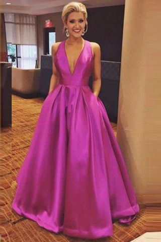 Gorgeous A Line Hot Pink Long with Ribbon Back V Neck Satin Deep V Neck Prom Dress PH607