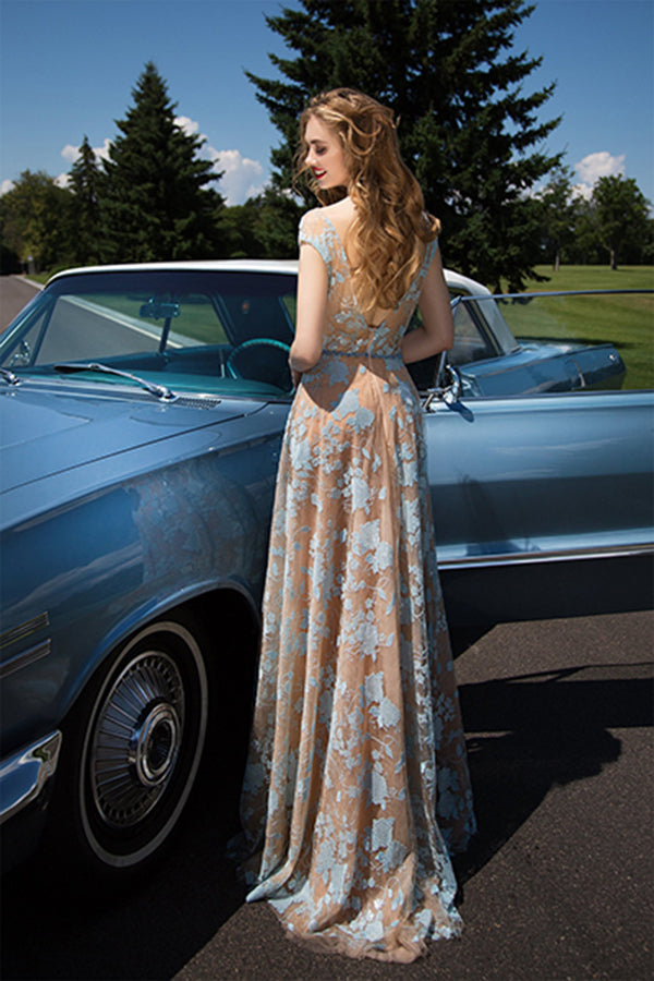 Charming Cap Sleeve Blue Lace Open Back A-Line Tulle Scoop Floor-Length Prom Dresses UK PM521