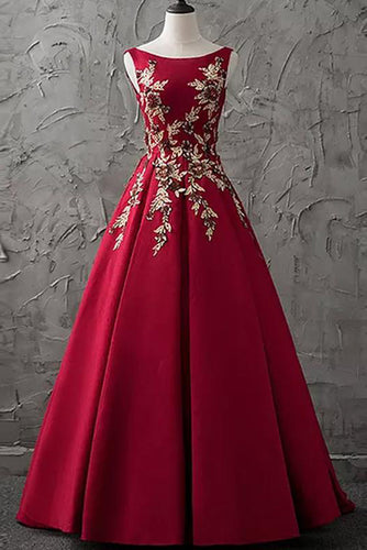 Chic Burgundy Cheap Scoop Long Lace up Satin Sleeveless Prom Dresses uk PW88