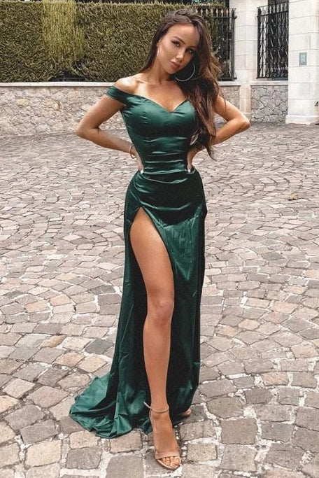 Charming Green Mermaid Prom Dresses Off the Shoulder V Neck Evening Dress with Split P1539