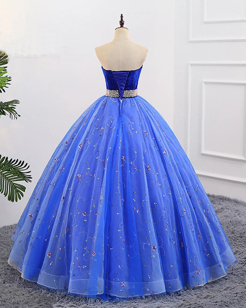 Ball Gown Sweetheart Strapless Blue Prom Dresses with Beading, Tulle Quinceanera Dresses P1354