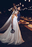 A Line Spaghetti Straps V Neck Beach Wedding Dresses Backless Summer Bridal Dresses W1214
